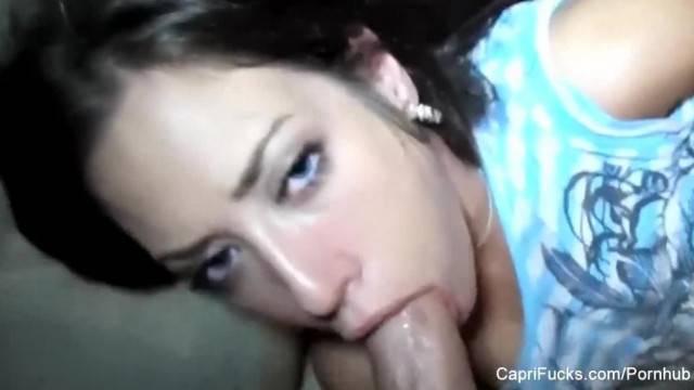 Amateur POV Blowjob with Brunette Hottie Capri Cavanni