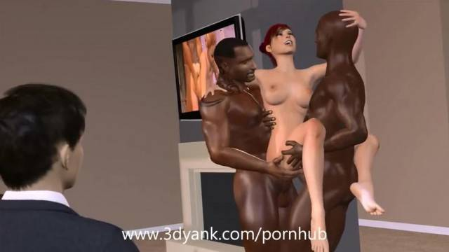 Pervy Businessman Watches Redhead Fucked by BBCs