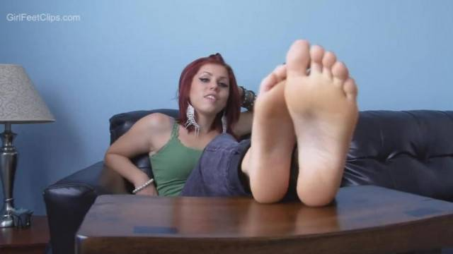 Bratty Redhead Babe Teases You with her Soft Soles
