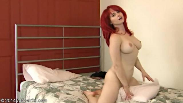 Horny Redhead MILF Humps Pillow and Masturbates on the Bed