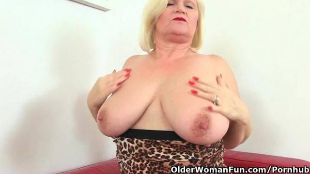 British Granny Lacey Starr Loves Exposing her Big Tits and Dildoing