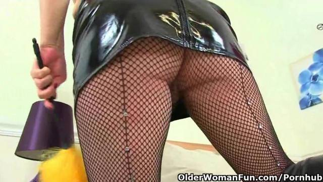 British MILF Alisha Rydes Masturbates in Fishnet Tights