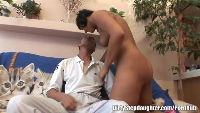 Naughty Brunette Stepdaughter Pleases her Stepdaddy