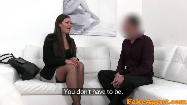 FakeAgent Brunette MILF Sucks and Fucks Agent on Casting Couch