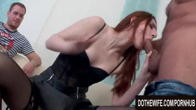 Tall Redhead Wife Irina Pavlova Drilled next to her Cuckold Husband