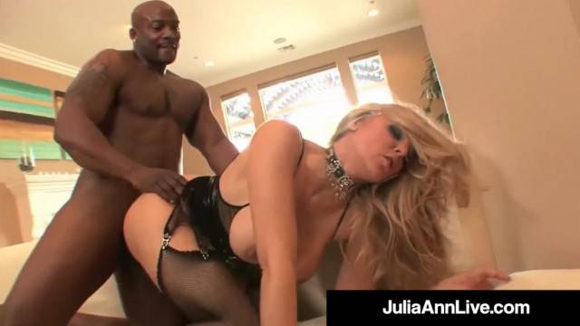 MILF Julia Ann Ass Fucked and Cummed on by 4 Big Black Cocks