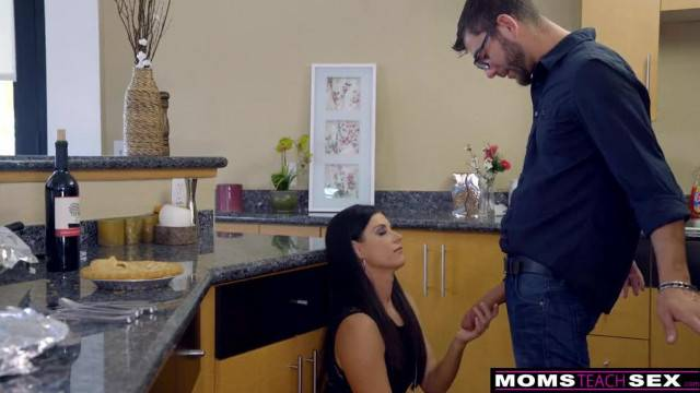 Mom Fucks Step and Son Eats Teen Creampie for Thanksgiving Treat
