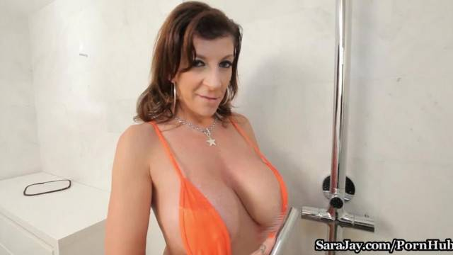 Sara Jay Showers her Big Tits Ass in the Shower