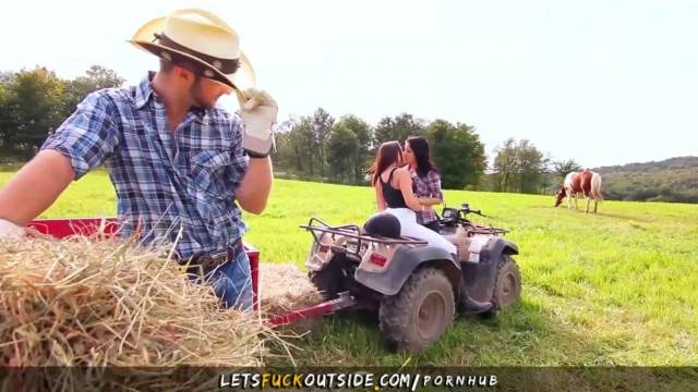 Cowgirls gets Fucked by Cowboy in Outdoor Threesome