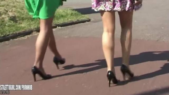 High Heeled Babes make your Shoe Fetish Hard in Sexy Nylons Black Stilettos