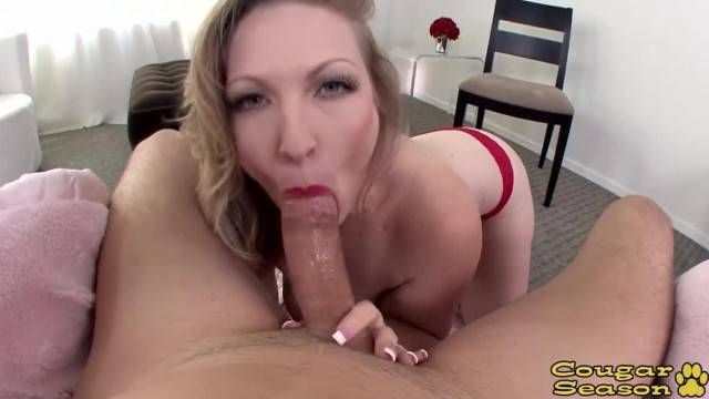 Thick Busty Blonde MILF Vicky Vixen Deepthroating a Big Cock