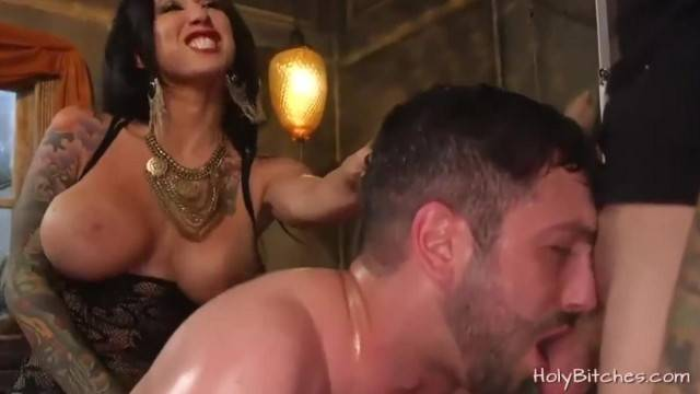 Mistress Lily Lane Pegs Guy in Bisexual Trio