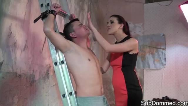 Cock Tugging Dominatrix Humiliates her Slave