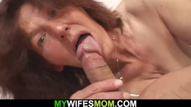 Smart old Stepgrandmother Rides his Cock