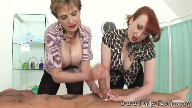 Busty MILFs Lady Sonia and Red Jerk off Big Cock