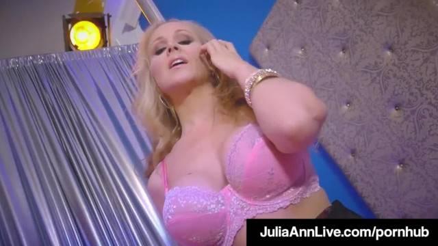 World Famous MILF Julia Ann Rides Stripper Pole and Rubs Cunt