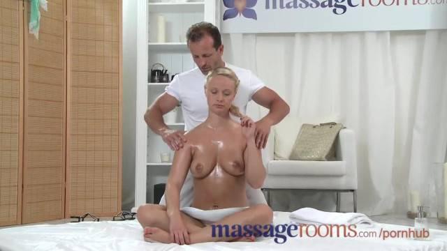 Massage Rooms Plump Mature Blonde Milks Masseuse Hard Cock with her Ass