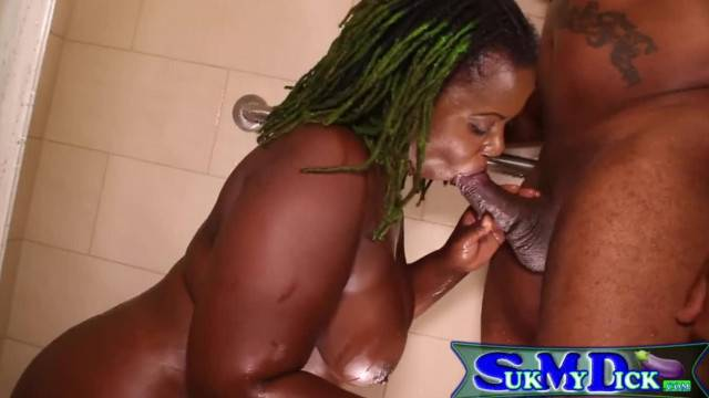 Ebony MILF Sucks me off in the Shower