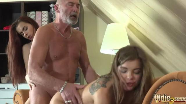 Old Man Fucks 2 Young Teens she Swaps Cum with her Girlfriend BFF forever