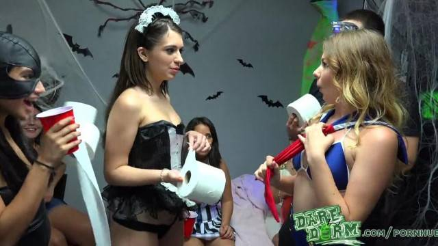 Horny Chicks going Wild during Daredorm Halloween Party