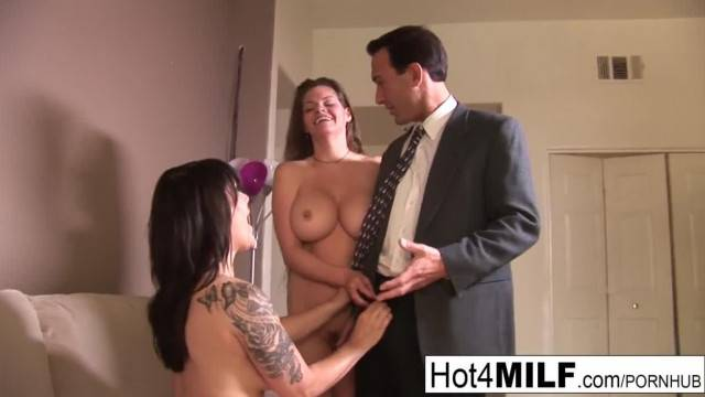 Lucky Guy gets to Bang two Brunette MILFs