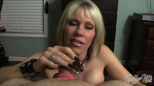My Hot Ass Goddess Nikki POV FemDom Handjob makes him Cum with Strapon