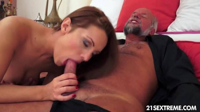 Not so Naive Teen Devours Grandpas Old Cock