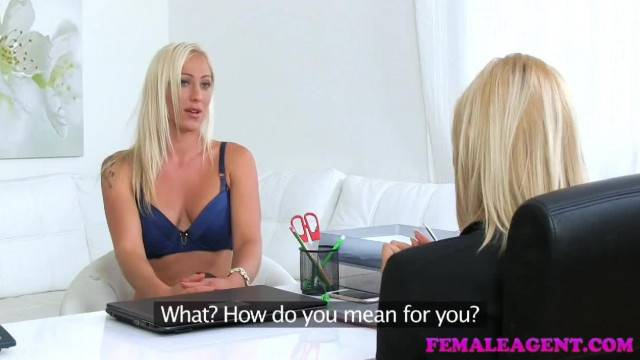 FemaleAgent Busty Blonde Babe Licks Agent for Money