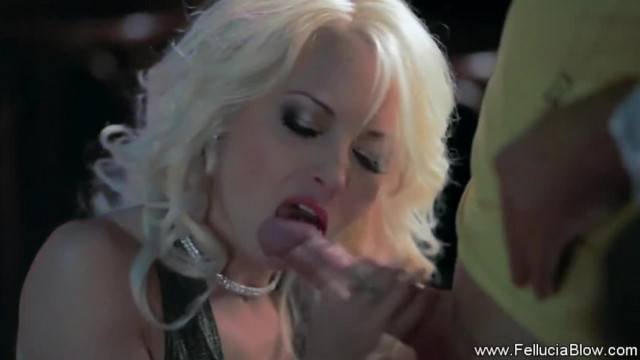 Stunning Blonde Blowing the DJ in the Club