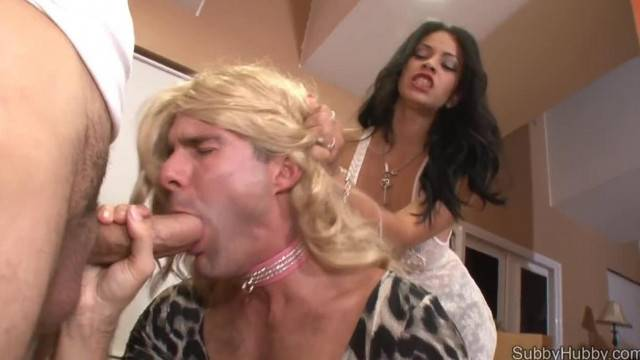Brunette Mistress Teaches Cuckold Sissy Slave to Suck Cock