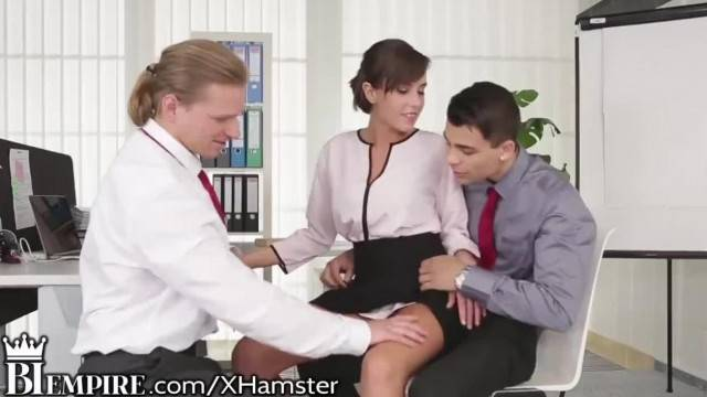Biemp Kinky Coworkers Enjoying a Bisexual Threesome in the Office