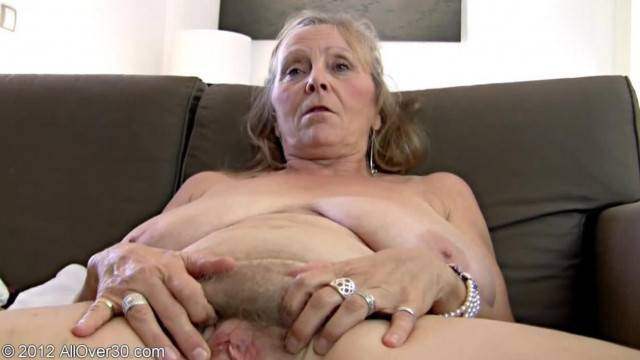 64 Years Old Granny Isabel Strips Naked and Gapes her Fat Pussy