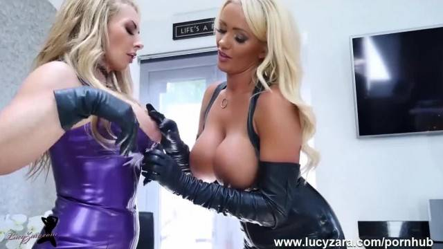 Hot Private GG Lapdance with Hot Big Tits Lesbian Milfs Toying in Latex