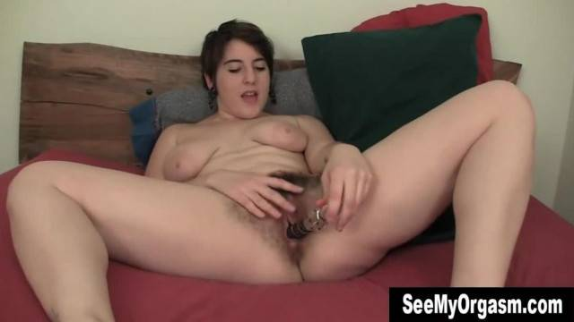 Big Breasted Amber Fucking A Big Dildo