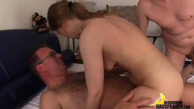 Young Babe Anally Fucked by Older Man in Amateur Threesome