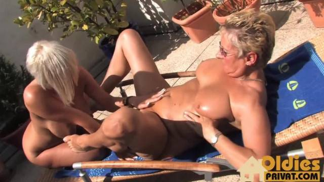 Two Grannies Go Wild in Outdoor Hot Tongue Game