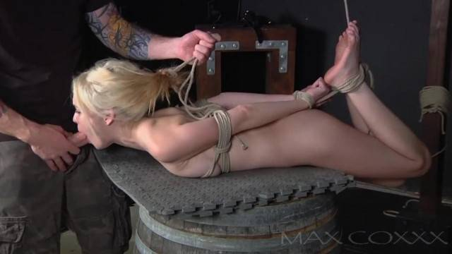 Petite Blonde Cutie Hogtied and Mouth Fucked