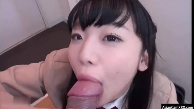 Cute Asian Teen Gives Amateur Blowjob and Swallows a Big Load of Cum