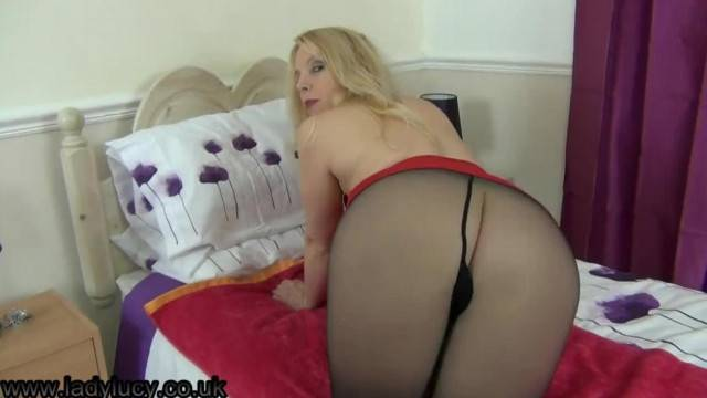 Mature Busty Blonde Shows her Tights and more