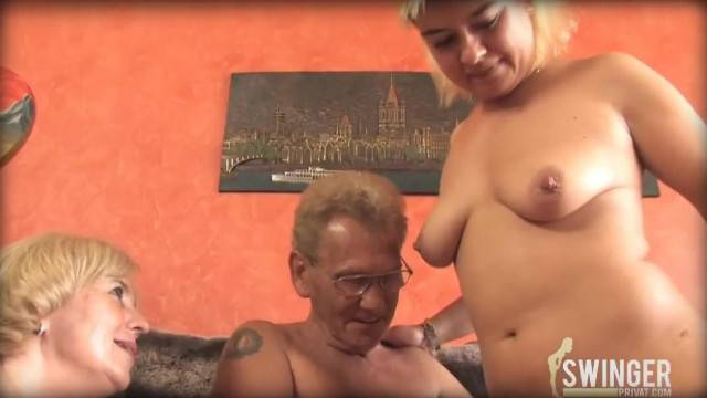 Pervy Old Couple Corrupting Young Babe in Threesome