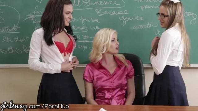 Girlsway Naughty Lesbian Schoolgirls Manipulate Teacher into 3some