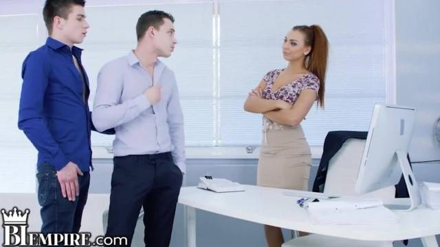 BiEmpire Ornella Morgan wants to Join in Hot Office Guys Fucking