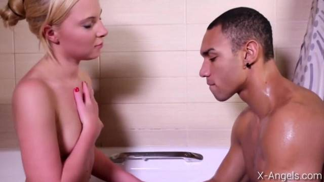 Blonde Beauty Impales her Tight Pussy on the Black Cock