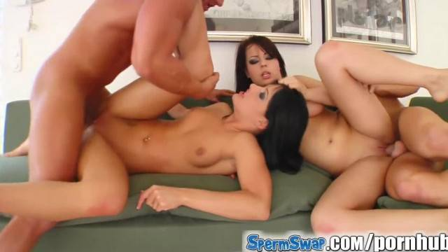 Sperm Swap Horny Guys Dominate these two Girls Pussies