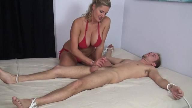 Zoe Holloway makes Bondaged Guy Cum twice Real Quick