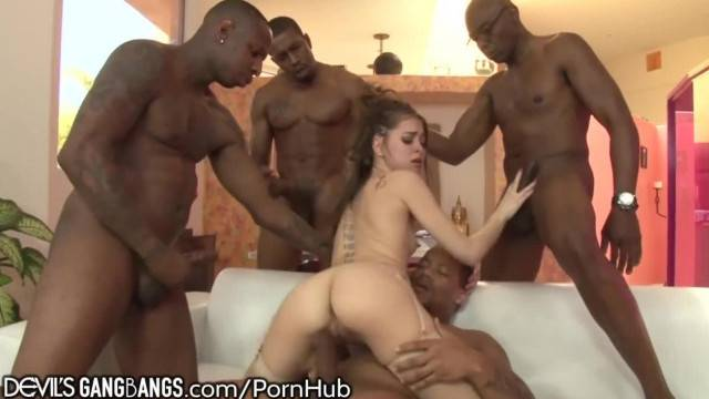 DevilsGangbangs Teen Riley Reid Takes Care of 4 BBCs