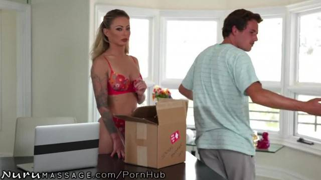 Superb MILF cleans stepsons cock