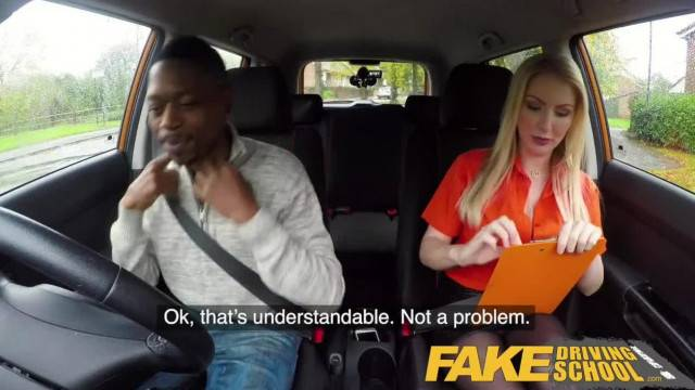 Black dude saves his driver licence by fucking his busty blonde examiner