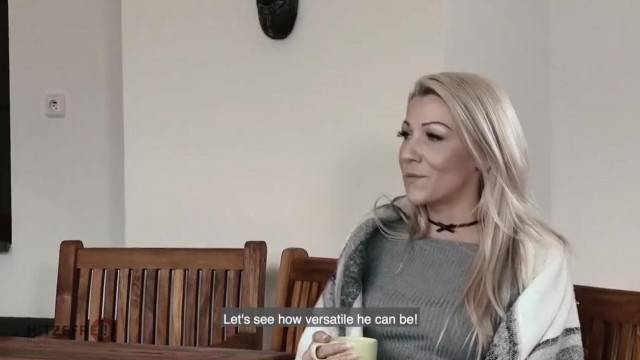Blonde from germany caught fucking a stranger in the bedroom and sucking cock