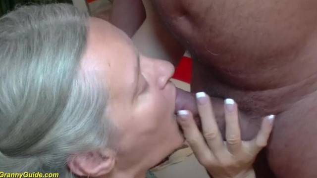 Horny granny takes huge ass cumshot after deep fuck